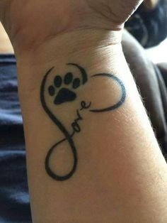 Awesome Cat Paw Print with Heart Tattoo on Wrist