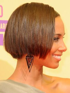 Keys' chic, short, graduated bob won't work on round faces. But for longer face shapes, this cut can give you a major lift. Just make sure your hair hits at the cheek area, which will balance you out, as opposed to at the jaw line, which will elongate your face.