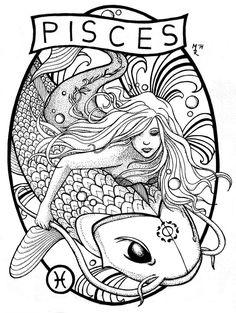 Virgin of Massica-Art on DeviantArt – virgo constellation tattoo Zodiac Art, Astrology Zodiac, Zodiac Signs, Pisces Tattoo Designs, Pisces Constellation Tattoo, Pisces Fish, Mermaid Tattoos, Mermaid Pisces Tattoo, Coloring Book Pages