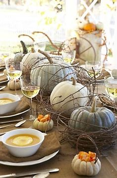 Shabby Chic Pumpkins are great alternative for a festive centerpiece.