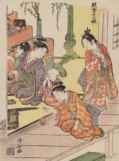 """The Doll Festival"". Woodblock print, 1783, Japan, by artist Torii Kiyonaga."