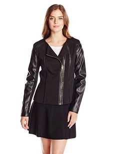 Calvin Klein Women's Moto Jacket with PU, Black, Large | Your #1 Source for Jewelry and Accessories