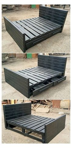 Bed Frame With Drawers, Bed Frame With Storage, Diy Bed Frame, Bed Storage, Storage Drawers, Bed Drawers, Pallet Storage, Bedroom Storage, Wooden Bed With Storage