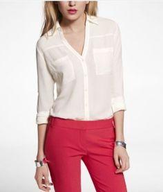 Express Portofino shirt in soft ivory