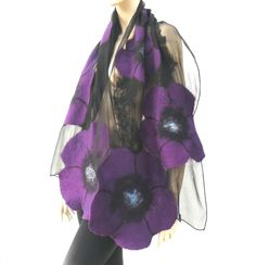Nuno felted shawl  large flowers scarf  wool and by MajorLaura