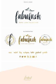 lash logo brush script logo design branding by FreshmintPaperie