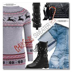 Christmas sweater by svijetlana on Polyvore featuring moda, fringebag, christmassweater and LongSweater