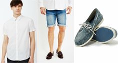 White Shirt, Denim Shorts, equally denim-blue Boat Shoes.