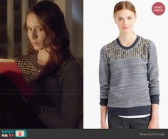 Spencer's grey studded sweater on Pretty Little Liars.  Outfit Details: http://wornontv.net/46698/ #PLL