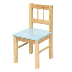 Personalised Childrens Blue Wooden Chair
