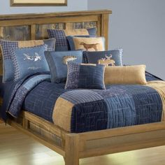 Denim Square Donna Sharp Quilt ~ $ALE ON THROUGH SUNDAY MAY 15, 2016 $AVE 50%  This stylish #quilt incorporates classic #denim fabrics with plaids and paisley for a casual yet refined bedding ensemble. In addition, Donna has added a soft faux suede brown fabric to the design for added texture, making this quilt inviting to the touch. A geometric quilting pattern echoes the hopscotch pattern in the ensemble. A series of Wildlife pillows have been created for this pattern, including fish…