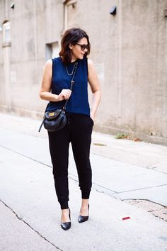 6 (J.Crew Silk Tee, Athleta Joggers*, Trouve Heels, Marc by Marc Jacobs Purse, MK Sunglasses)