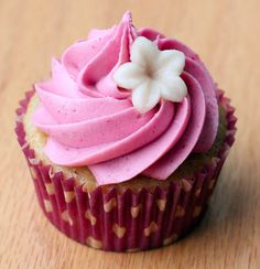 Vanilla Almond Cupcakes with Blackberry Buttercream
