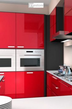 Be a little bold and daring with your kitchen design by using our High Gloss Polyester Red cabinet doors. Shop the best kitchen cabinets to renovate your home. #27estore #homedecor  #kitchen #cabinets #homeremodel #homeinspo #homeideas #remodel #CabinetColors