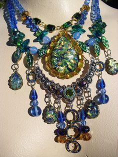 Pretty as a Peacock Vintage Harlequin Statement Necklace. $120.00, via Etsy.