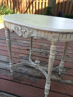 Finished table 1 - Annie Sloan chateau grey with old ochre chalk paint, distressed base with clear and dark wax, gentle craquelure on top and General Finishes top coat.