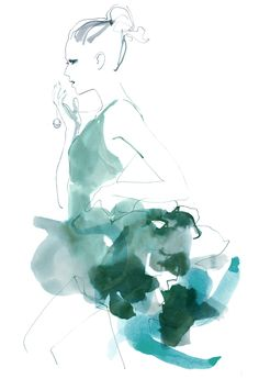 Sara Singh - Fashion Illustrator Research I really like Sara's illustrations because they're so simple yet so detailed at the same time and she uses watercolour to create the garments on the silhouette which I like too.