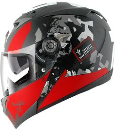 Versatile, aggressive style helmet, with pivoting inner solar visor and ergonomic ventilation. Stands out for its excellent quality-price rati. Motorcycle Helmet Design, Motorcycle Outfit, Bicycle Helmet, Bike Helmets, Shark Helmets, Motorbike Clothing, Sports Helmet, Custom Helmets, Biker Gear