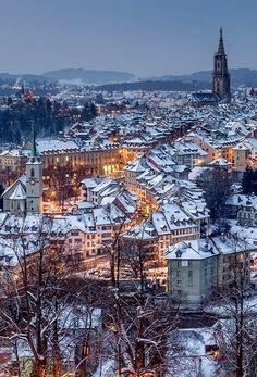 Beautiful Snow-Covered Bern, Switzerland