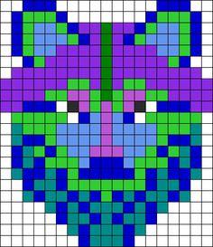 Winter Colors Wolf Perler Bead Pattern / Bead Sprite