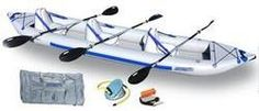 Sea Eagle Classic 465FT 15ft Inflatable 3 Person Kayak Deluxe Incl Paddles