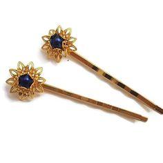 Navy Blue Pearl Hair Pins-Pearl Bobby Pins-Pearl Hair