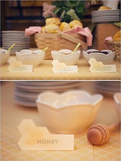 Honey-Themed Bridal Shower designed by Tabitha of Roberts & Co. Events and photographed by Audra Wrisley Photography & Design. Shower Party, Bridal Shower, Biscuit Bar, Strawberry Preserves, Bee Party, Baby Shower Princess, Food Themes, Baby Shower Themes, Party Planning