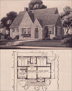 This plan was introduced as The Jewel but renamed as The Wilmore by 1935. It's a tidy, small English cottage style in the Revival tradition of the late 1920s, Source: Modern Homes by Sears Roebuck and Co. Antique Home Style plan collection.
