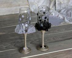 Copas de boda Chic rústico blanco y negro con por RusticBeachChic