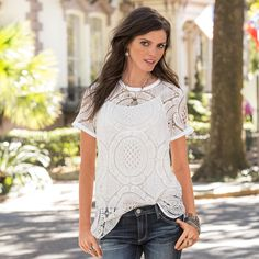 """SHADOW DANCE TEE--Our fanciful take on this tee shirt with vintage lace, raw-edge trim on neckline and sleeves, and  hi-lo hem. Camisole included. Cotton/polyester lace. Hand wash. Imported. Exclusive. Sizes XS (2), S (4 to 6), M (8 to 10), L (12 to 14), XL (16). Front approx. 28-1/4""""L."""