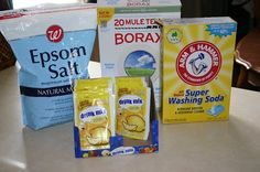 Dishwasher Soap 1 box Borax 1 box Arm & Hammer Washing Soda  3 cups Epson Salt 24 packages unsweetened lemon-aid mix like koolaid  +Lemi Shine