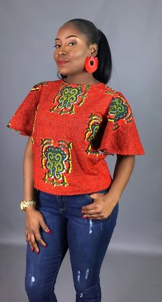 African print fabric used for blouses,dashiki tops, that can be Rocked with Jeans Trouser for AFRICAN WOMEN - WearitAfrica African American Fashion, African Fashion Ankara, Latest African Fashion Dresses, African Print Fashion, Africa Fashion, Short African Dresses, African Blouses, African Print Dresses, Ankara Tops Blouses