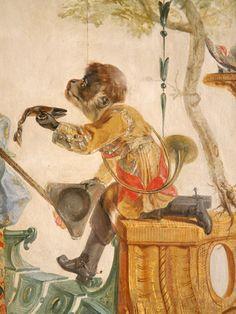 Detail of mural with monkey, Grande Singerie, Château de Chantilly