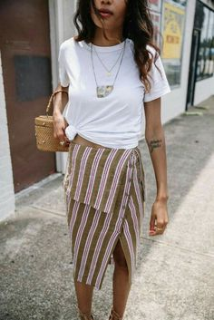 boho vintage fashion and style outfit ideas, striped wrap skirt, casual summer