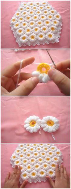 Ideas For Crochet Flowers Blanket Ganchillo Crochet Motifs, Crochet Flower Patterns, Crochet Blanket Patterns, Baby Blanket Crochet, Baby Knitting Patterns, Diy Crochet, Crochet Crafts, Crochet Flowers, Crochet Projects