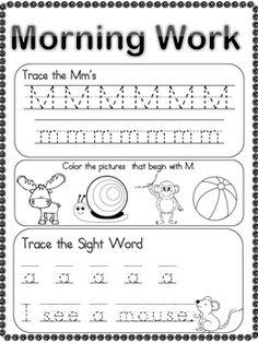 Freebie Nursery Morning Work – Alphabet & Sight Word by Kindergarten Homework, Kindergarten Morning Work, Kindergarten Language Arts, Kindergarten Curriculum, Kindergarten Centers, Alphabet Kindergarten, Preschool Readiness, Preschool Classroom, Future Classroom
