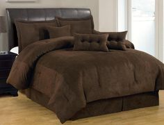 comforters & bedding sets | ... Solid Brown Comforter Set Micro Suede Queen Size Bed in A Bag | eBay