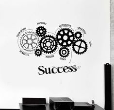 Quotes Vinyl Wall Decal Success Words Gears Office Motivation Removable Art Stickers Inspirational Wall Sticker for Office Office Wall Design, Office Wall Decals, Office Walls, Office Art, Vinyl Wall Decals, Office Decor, Office Wall Graphics, Small Office, Office Ideas
