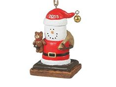 S'mores Santa with Bear 2015 Dated Christmas Ornament
