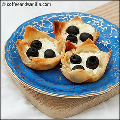 Filo Pastry Nests with Feta Cheese and Black Olives