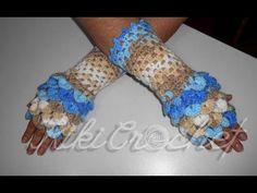 Crochet Crocodile Stitch Fingerless Gloves or Dragon Scale Gloves.