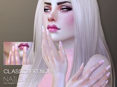 Pralinesims' Classic French Nails N04