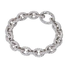 Renesim Pave Brilliant Broad Link Diamond Bracelet  1