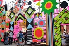 Morag Myerscough & Luke Morgan, Open Wide — Arrival Zone & Markers, Opheum & Volksgarten-Pavillion for Steirischer Herbst, Graz