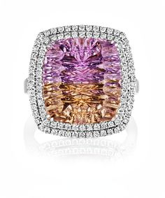 This specially cut Bolivian ametrine ring by Sheldon Bloomfield creates an almost kaleidoscopic effect