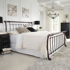 Legion Sleigh Bed - Complete your bedroom with the Legion Bed and become romanced by its gently sloping, sleigh bed design. This metal bed has an elegant, hand-applied an. Bedding Master Bedroom, Dream Bedroom, Upstairs Bedroom, Bedroom Furniture, Bedroom Decor, Furniture Decor, White Furniture, Furniture Layout, Furniture Outlet