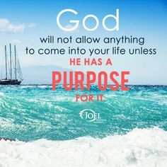 God will not allow anything to come into your life unless he has a purpose for it. - Joel Osteen