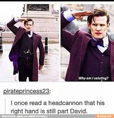 I also read that headcanon, and I 100% accept it. His right hand still has part of Ten in it, and it occasionally reminds Eleven of that fact.