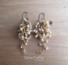 《受注製作》Pierces, Tatting Jewelry Snow Flower2014_gold