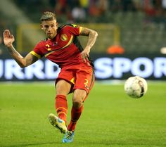 Toby Alderweireld of Belgium passes the ball during the International friendly match between Belgium and France at the King Baudouin Stadium on August 14, 2013 in Brussels, Belgium